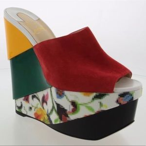 Authentic Christian Louboutin Red Suede Wedge 38.5